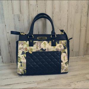 Betsey Johnson Black Floral Camo Purse Satchel EUC